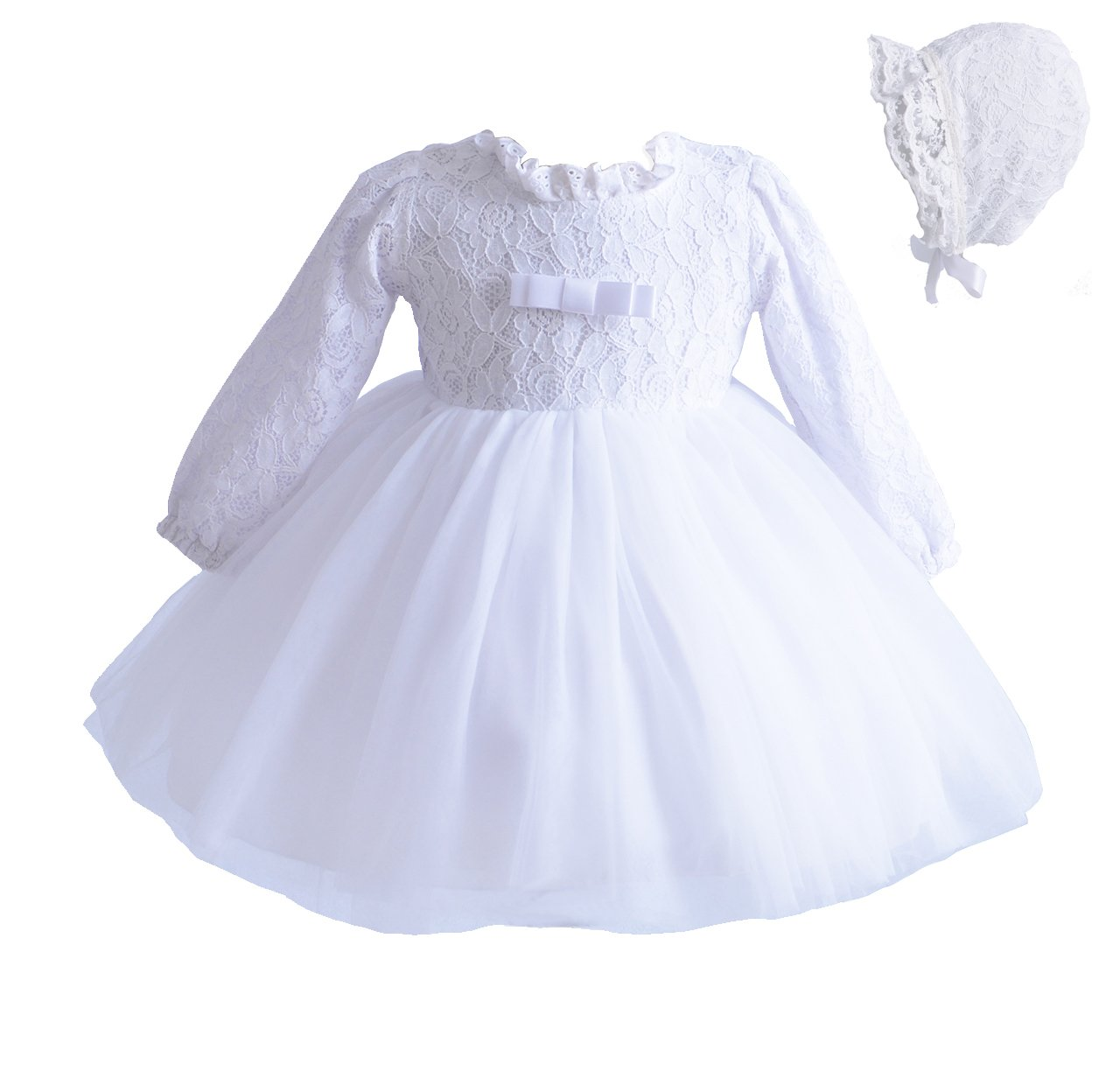 Cinda Long Sleeve Lace Christening Party Dress and Bonnet GZ212