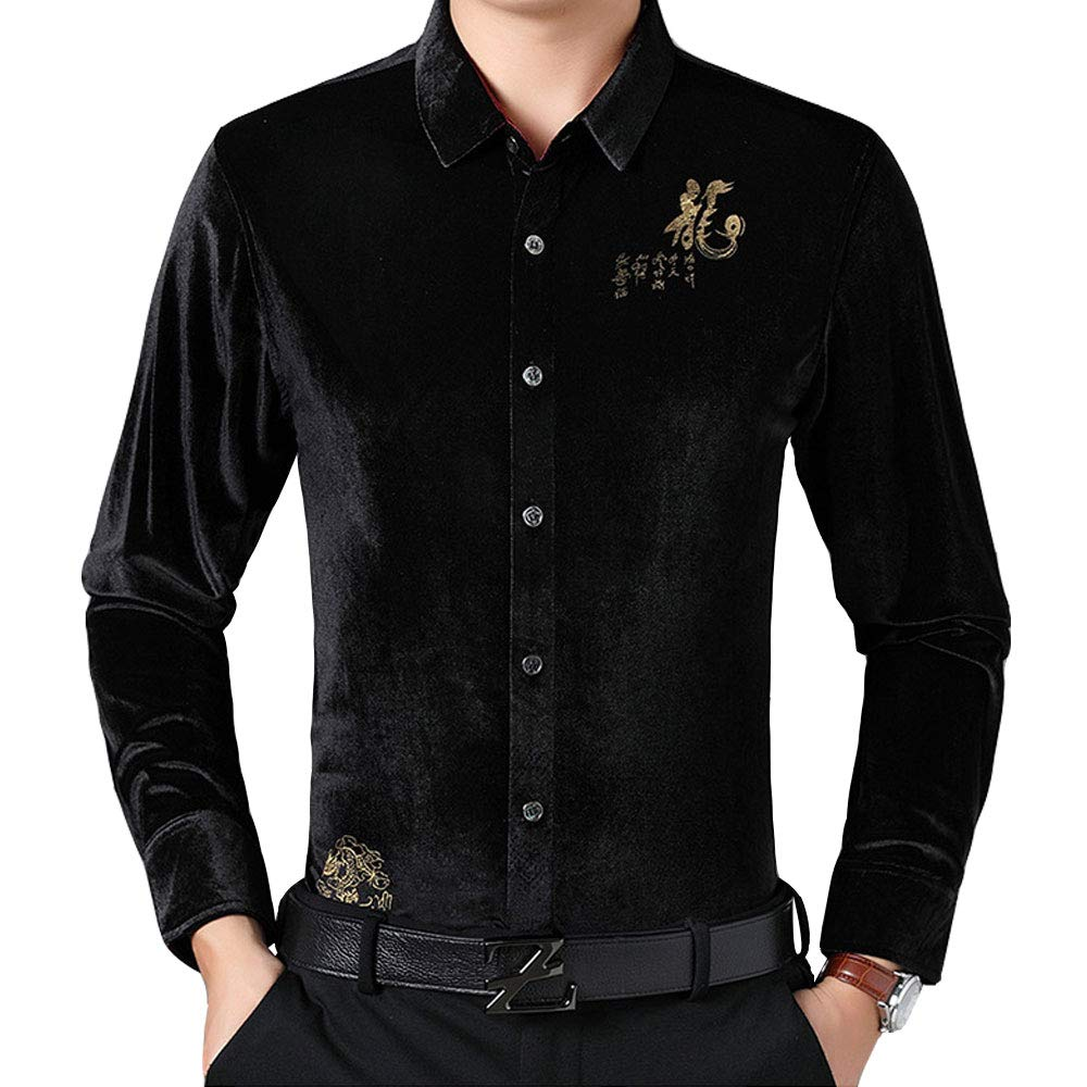 Gate2Light Mens Casual Luxury Velvet Dress Shirt Fashion Chinese Style Button Down Shirt