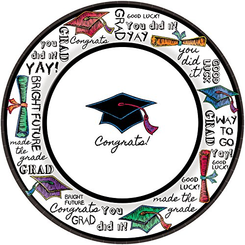 (amscan Loud & Proud Graduation Written Compliments Round Plates Party Tableware, Multicolor, 6 3/4