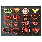 """Super Hero Cookie Cutter (Set A) / Fondant Cutter / Cupcake Topper - (14pc Set) (2"""")"""