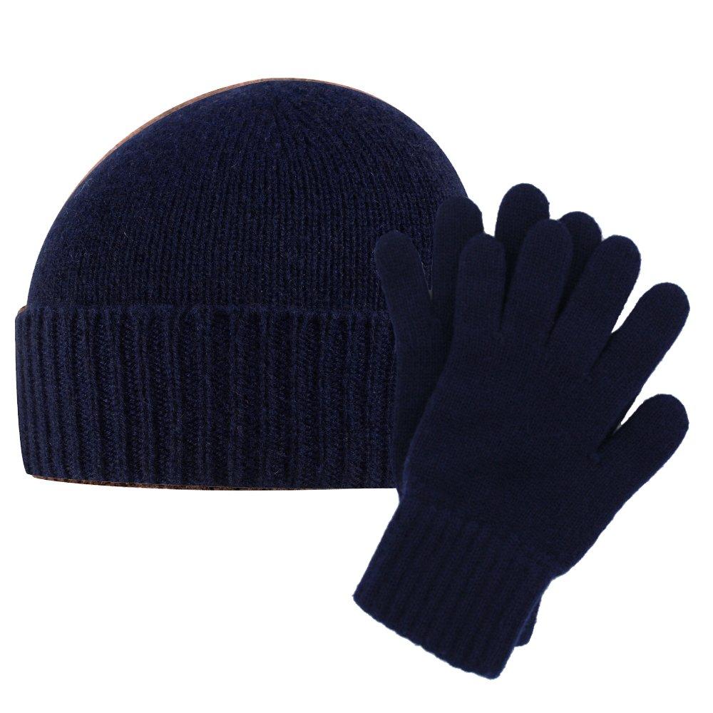 Puro cashmere Plain Knit cappello e guanti uomo set