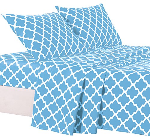 Egyptian Luxury Quatrefoil Pattern Bed Queen Sheets Set 1800
