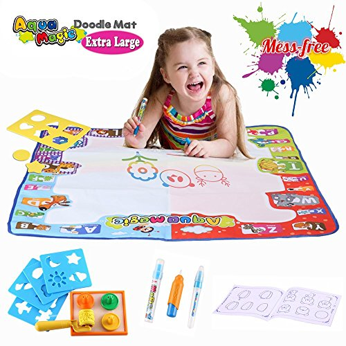 "Aqua Doodle Mat Large Educational Water Drawing Mat for Kids Toy Toddler Painting Board with 2 Magic Pens, 1 Magic Brush, and Drawing Accessories for Boys Girls Size 30.3"" x 30.3"""