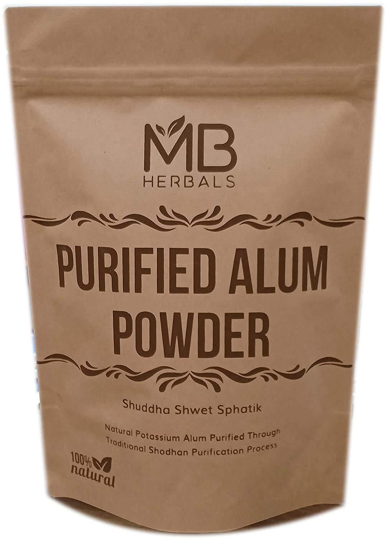 MB Herbals Alum Powder 100 Gram (3.5 oz) | Potassium Alum Powder | Purified Alum Powder Through Traditional Ayurveda Shodhan Purification Process | Helps in Canker Sores | Natural Deodorant