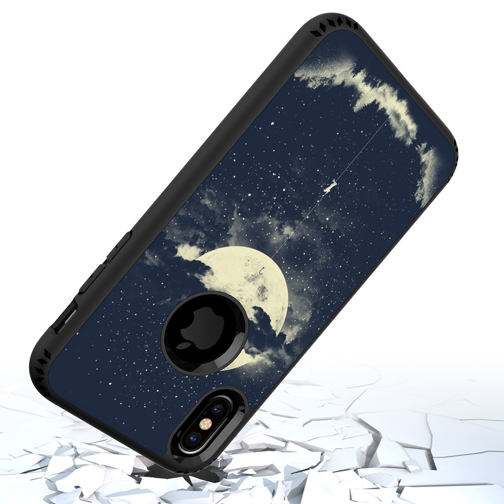 iPhone X Case, MagicSky Shockproof Slim Corner Protection with Resilient Shock Absorption Rubber Protective Case Cover for Apple iPhoneX - Night Sky