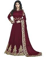 Salwar Soul Women's Georgette Embroidered Semi-stitched Anarkali Gown (Salwar_EA10210_Maroon_Free Size)