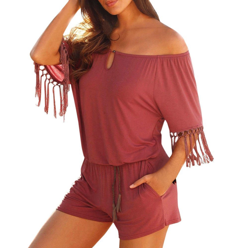 Fashion Casual Women Tassel Jumpsuits Romper Playsuit Short Pants Wine