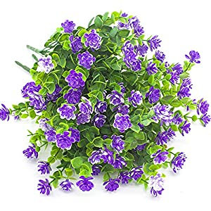 Artificial Flowers, Fake Outdoor UV Resistant Plants Faux Plastic Greenery Shrubs Indoor Outside Hanging Planter Home Kitchen Office Wedding Garden D¨¦cor 6