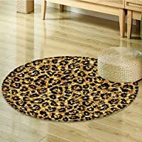Safari Decor Circle carpet by Nalahomeqq Leopard Skin Pattern with Gold Trendy Feminine Sexy Kitsch Rosettes Safari Theme Room Accessories Black Gold-Diameter 60cm(24)