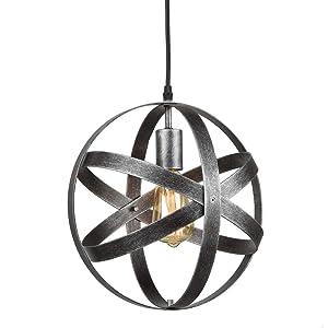 AXILAND Industrial Metal Spherical Antique Silver Pendant Displays Changeable Hanging Lighting Fixture