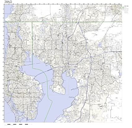 Amazon.com: Tampa, FL ZIP Code Map Laminated: Home & Kitchen