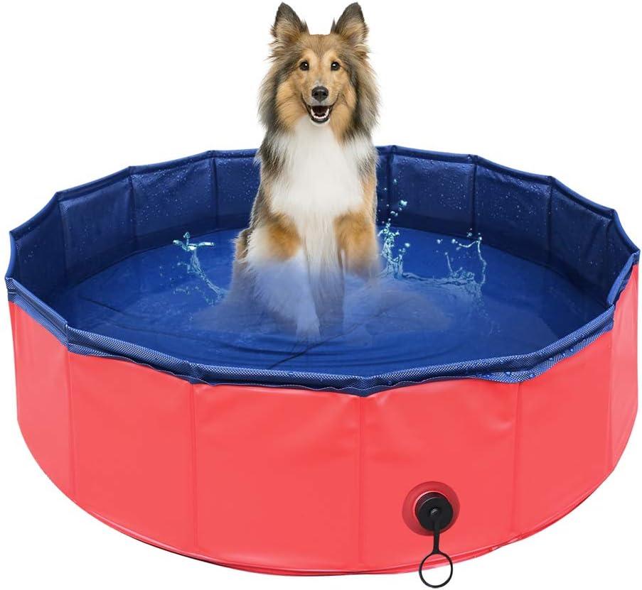 Delicacy Piscina para Mascotas Piscina para Perros Bañera para Perros y Gatos Bañera Plegable Mascotas Baño Portátil para Niños y Mascota PVC Antideslizante y Resistente al Desgaste φ80x20cm