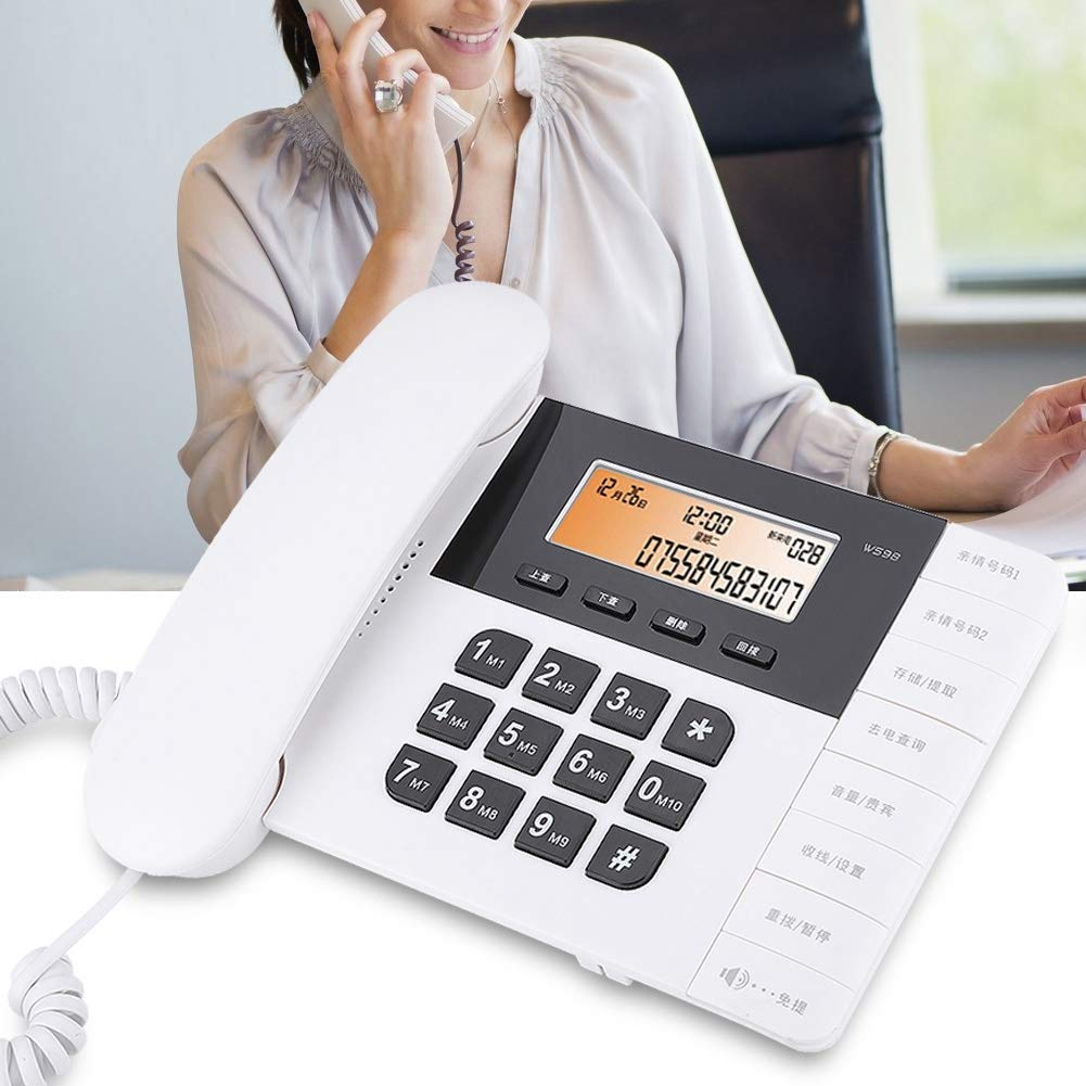 White Fixed Telephone Desk Landline Phones for Home Office Hotel Desktop Telephone Cordless Phone with VIP Function and Caller ID Wireless Telephone