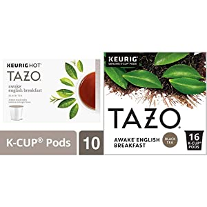 Tazo K-Cup Pods, Awake English Breakfast Black Tea, 10 Count, 1.51 Oz (Pack of 6) 880 grams & Awake English Breakfast K-Cup® Pods For a Bold Traditional Breakfast-Style K-Cup Tea Black Tea
