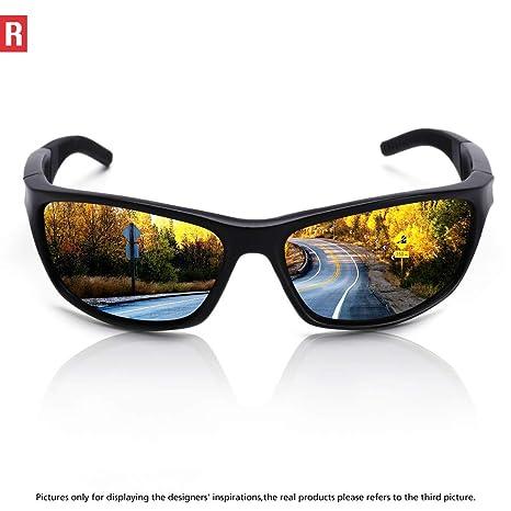 bffd49b1cce6 Amazon.com   Polarized Sports Sunglasses Cycling Glasses for Men Women Driving  Running Fishing Golf Baseball UV Protection 306 Black   Sports   Outdoors