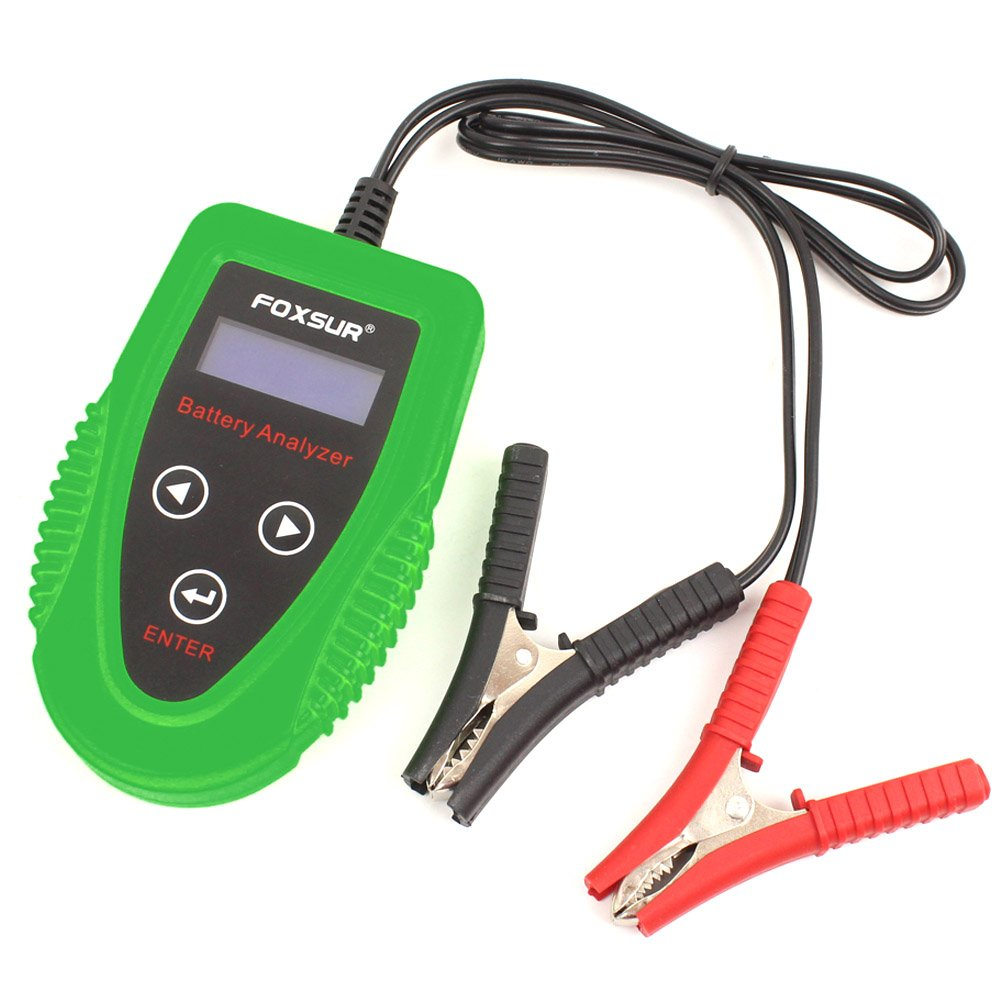 FOXSUR Digital 12V Car Battery Tester, Starting and Charging System Tester and Analyzer Of Battery Life ,IR,Voltage, Resistance and CCA Value For Flood, Gel, AGM, Deep Cycle Battery