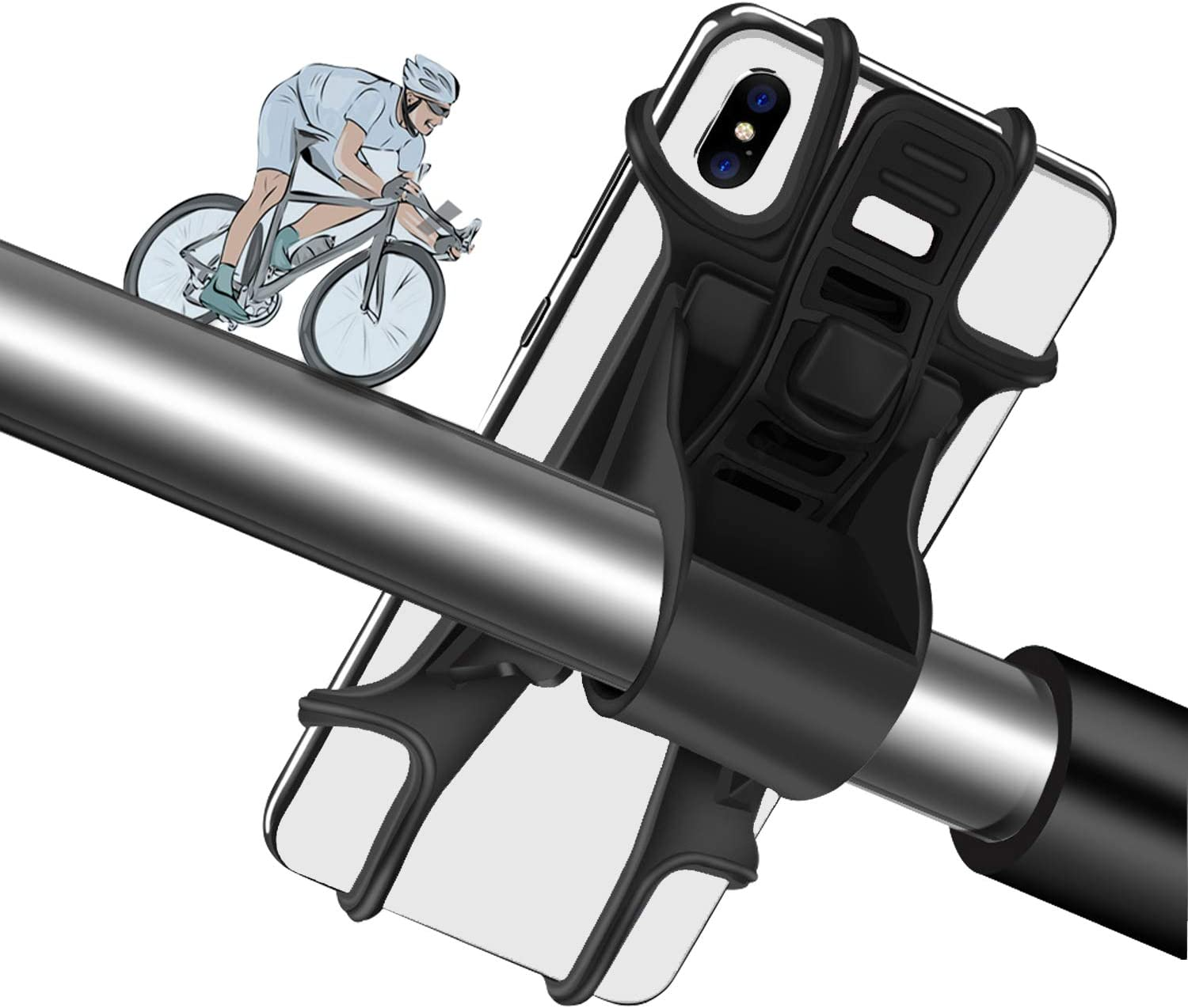 Bike Phone Mount, Removable Silicone Phone Holder for Bike, Motorcycle, Shopping Cart & Suitable for 4 to 6.5 Inch Smartphones and GPS Devices, hehuangTech Bike Phone Holder.