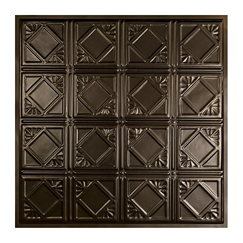 Great Lakes Tin Ludington Bronze Burst Lay-in Ceiling Tiles – Package of Five 2ft x 2ft Panels – Choose from 11 Styles – Perfect for DIY and Home Renovation Projects – Easy to Install