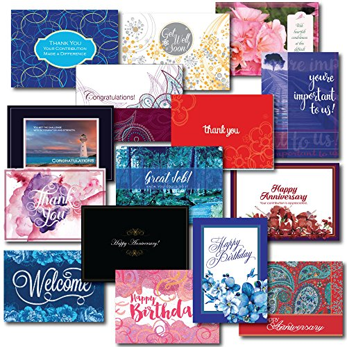 Employee Appreciation Greeting Card Assortment. This 30-Card Box Set Encourages Loyalty and Teamwork. Includes Birthday, Get Well, Anniversary, Congratulations and General Inspiration.