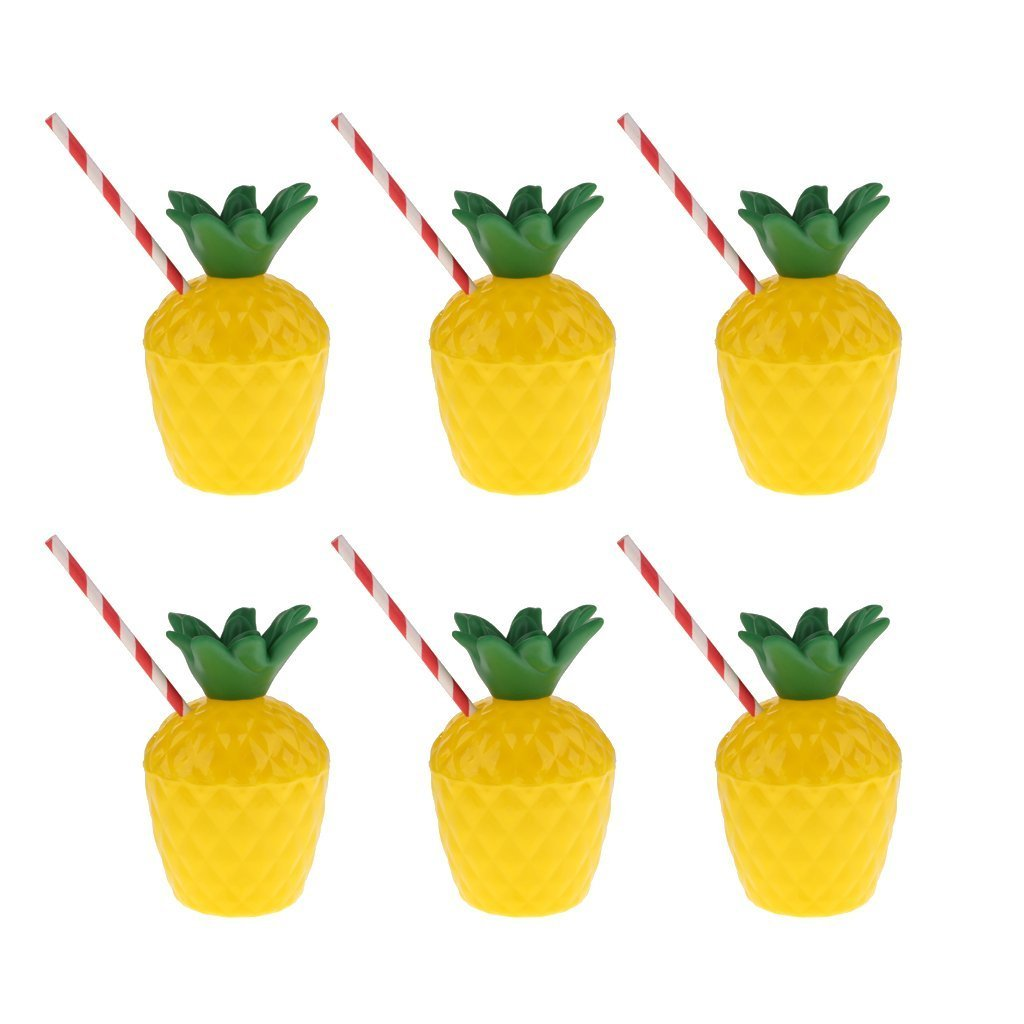 6PCS Pineapple Cups with Straws for Hawaiian Beach Tropical Luau Hula Tiki Party Favors Aupplies Decoration