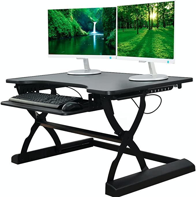 The House Of Trade Premium Standing Desk Adjustable Height Desk Riser Pro 37 In Wide Fits 2 Monitors With Sliding Keyboard Tray Black 37 Wide Furniture Decor Amazon Com
