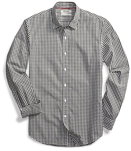 (Goodthreads Men's Standard-Fit Long-Sleeve Gingham Plaid Poplin Shirt, Green/White Micro Check, Large)