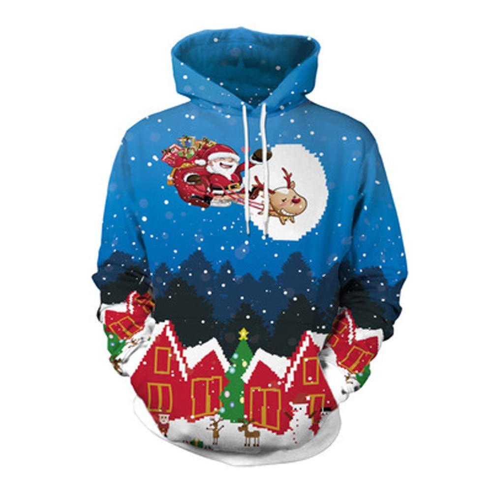 VRTUR Unisex Paare3D Weihnachten Oberteile Geweih Drucken Hoodies Bluse Oberteile Hemd Sweatshirts
