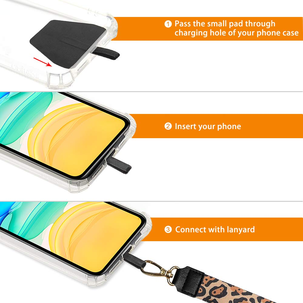 White Leopard Lanyard for Keys Galaxy /& Most Smartphones COCASES Phone Lanyard and Wrist Lanyard Set Neck Straps for ID Badge and iPhone