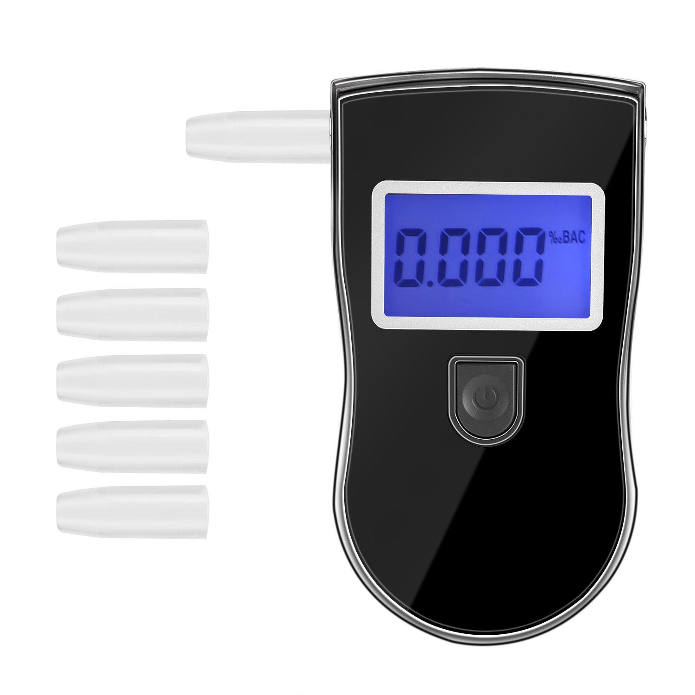 POMILE Alcoholí metro Portá til Silicio Sensor Digital Alcohol Tester Analizador de Aliento Detector de Alcohol con Pantalla LCD (5 boquillas en Trasero de Tapa)