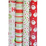 JAM Paper Christmas Design Wrapping Paper - Classic Christmas - 180 sq. ft. - 4/pack