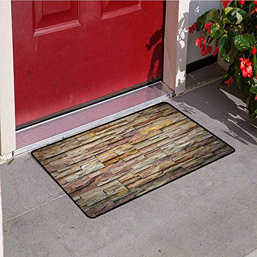 GloriaJohnson Marble Commercial Grade Entrance mat Urban Brick Slate Stone Wall with Rocks Featured Facade Architecture Town Picture for entrances garages patios W23.6 x L35.4 Inch Multicolor (Entrance Mats Slate)