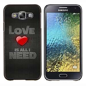 TECHCASE---Cubierta de la caja de protección para la piel dura ** Samsung Galaxy E5 E500 ** --Love Is All I Need