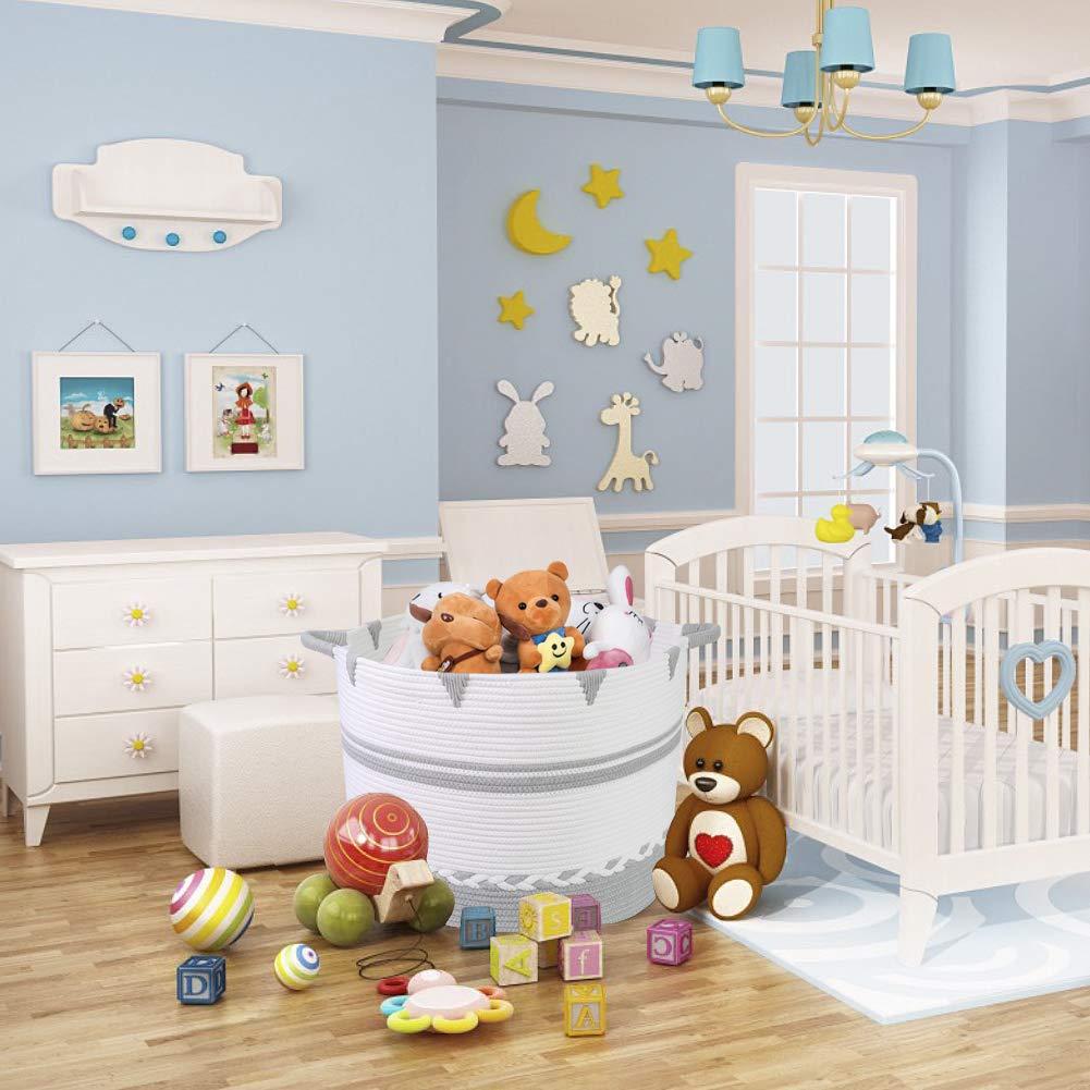 "B07TK78S6R Extra Large Cotton Rope Storage Basket, 20\"" x16 Giant Woven Storage Baskets, Throw Blanket Decorative Basket Living Room, Big Round Toy Bin Nursery Hamper for Baby Towel, Shoe, Cloth, Pillow, Toys 61mXXLBXQJL"