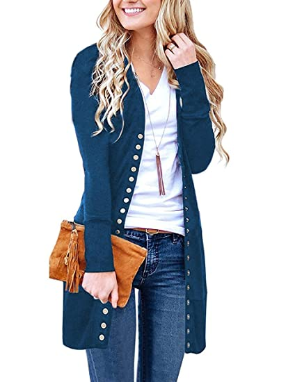 bfa9a62f32 Women s Long Sleeve Cardigan Open Front Loose Sweater Coat Solid Color Blue  Medium