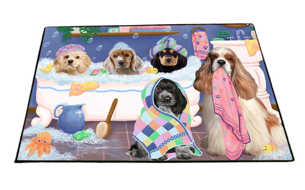 Rub A Dub Dogs In A Tub Cocker Spaniels Dog Floormat FLMS53532 (24x36) by Doggie of the Day