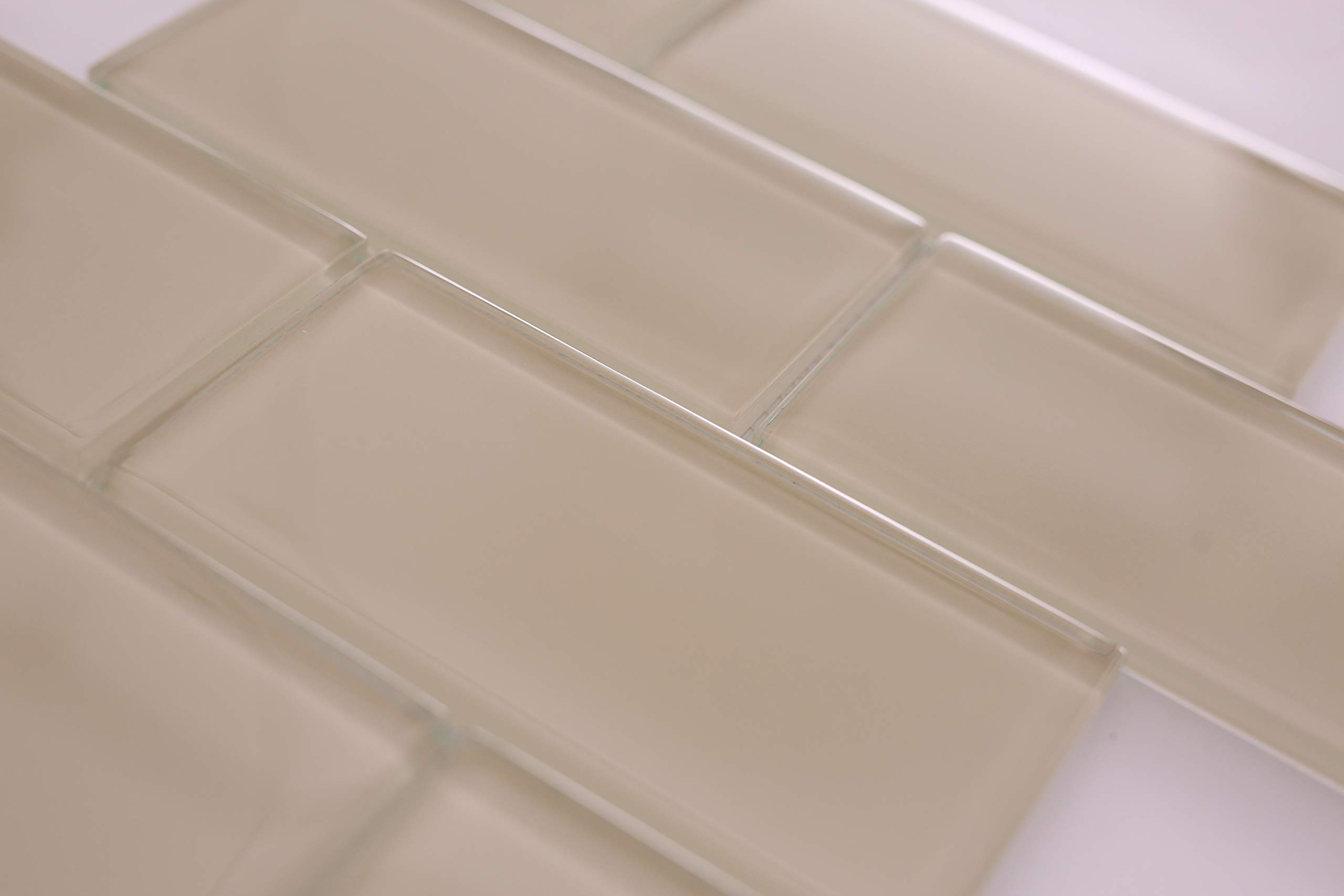 Crystalcor USA : 3x6 Brick Glass Subway Tile Backsplash Light Beige for Kitchen Bathroom Shower 12 in x 12 in x 8mm mesh Mounted (5 Square feet)