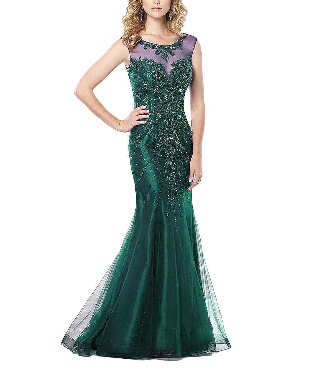 Dark Green Yisha Bello Women's Crystal Beaded Mother of The Groom Dress Long Mermaid Sweetheart Evening Formal Dress
