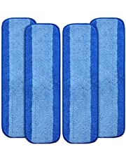 KEEPOW 4 Pack Replacement Microfiber Cleaning Pads Compatible with Bona Wet&Dry Mop, Washable & Reusable Refills