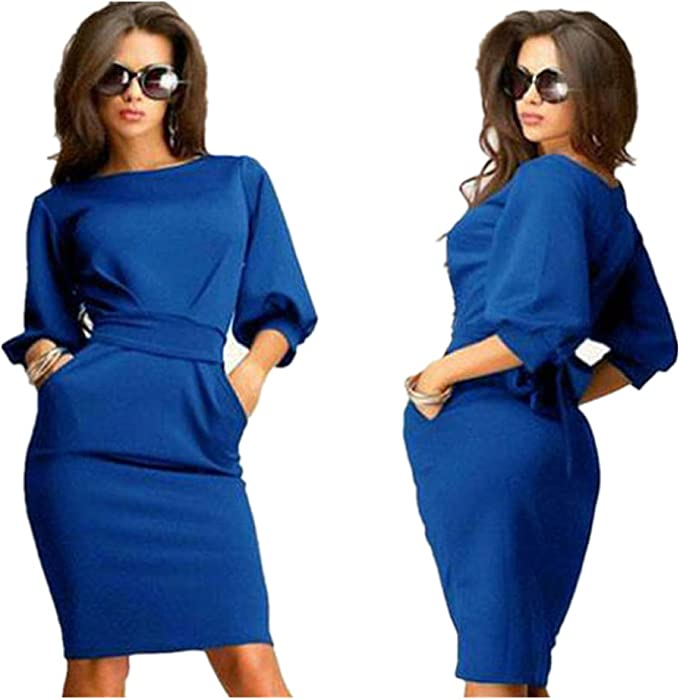 4c8d047bbb Womail Women Vintage Business Casual Party Pencil Sheath Dress (S ...