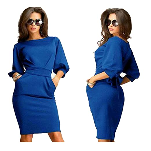 63fc84b588c Womail Women Vintage Business Casual Party Pencil Sheath Dress at ...