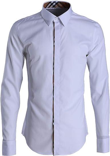 Contraste Camisa a Cuadros para Hombres Camisa Blanca de ...