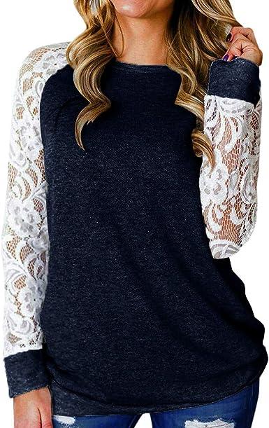 Luckycat Mujer Cuello Alto Transparente Mangas Largas Camiseta ...