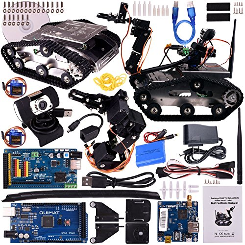 Quimat Arduino Smart Robot Car Kit, Wireless Programmable Tracked Learning&Educational DS Robotics Kit with Arduino Mega2560 Board, RC Chassis and Video Tutorials for Arduino Learners - Loading Platform Kit