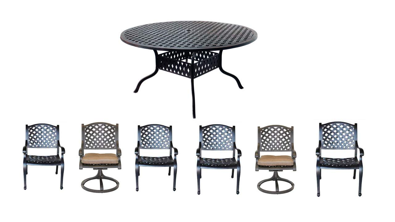 Nassau Cast Aluminum Powder Coated 7pc Set with 60 Round Table – Antique Bronze