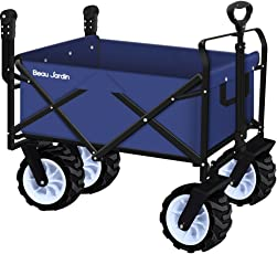 Folding Push Wagon Cart Collapsible Utility Camping Grocery Canvas Fabric  Sturdy Portable Rolling Lightweight Beach Sand
