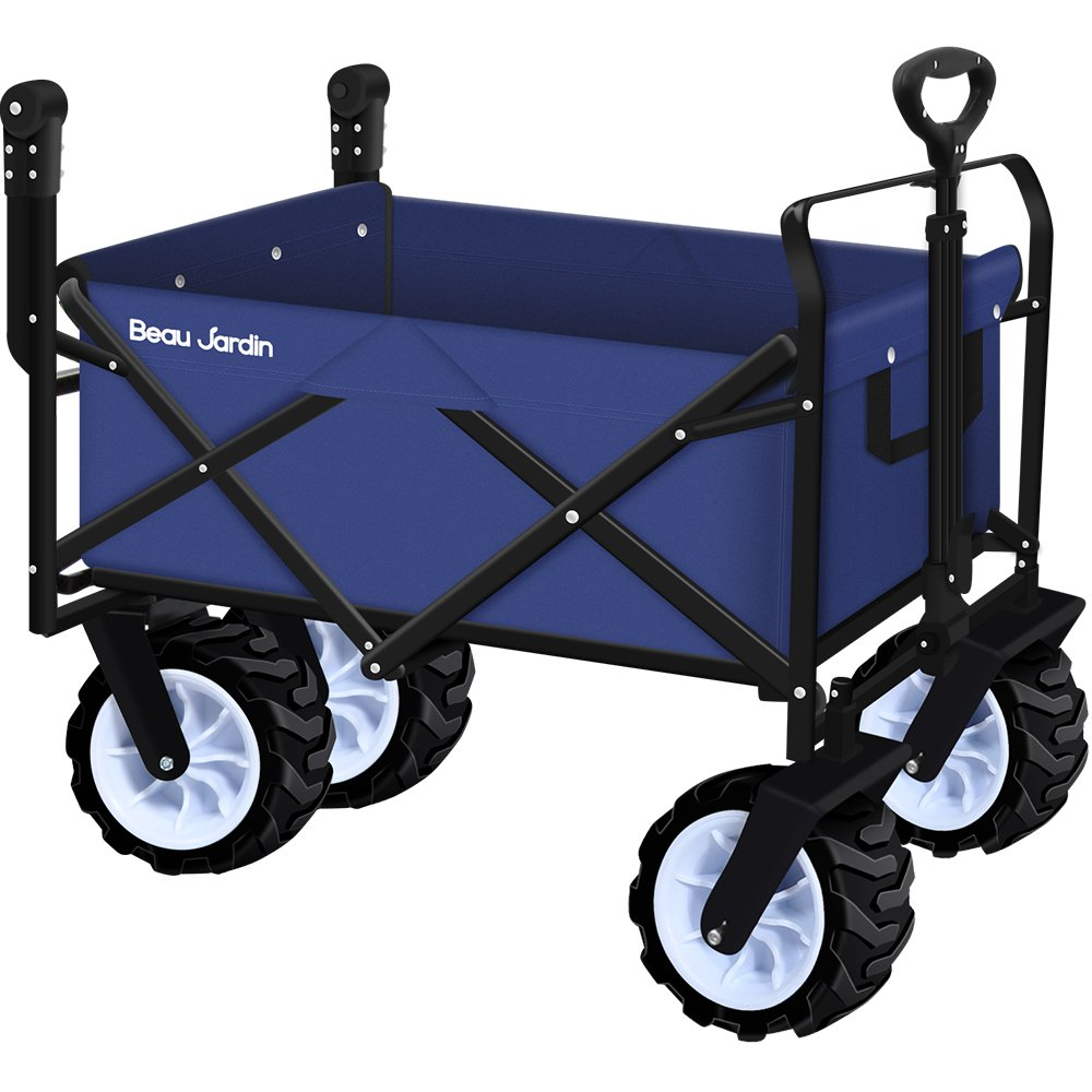 Folding Push Wagon Cart Collapsible Utility Camping Grocery Canvas Fabric Sturdy Portable Rolling Lightweight Buggies Outdoor Garden Sport Picnic Heavy Duty Shopping Cart Wagons With Wheels by BEAU JARDIN