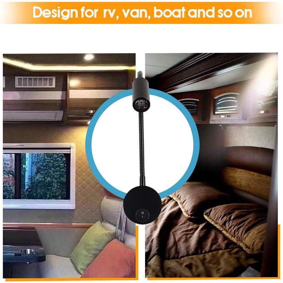 Nrpfell 12v Lese Lampe Mit Usb Lade Anschluss Rv Innen Beleuchtung Flexible Led Leuchten Entwickelt Für Auto Wohnwagen Boot Wohnmobil Schwarz Auto