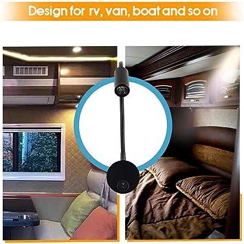 Nrpfell 12v Lese Lampe Mit Usb Lade Anschluss Rv Innen Beleuchtung Flexible Led Leuchten Entwickelt Fur Auto Wohnwagen Boot Wohnmobil Schwarz Amazon De Auto