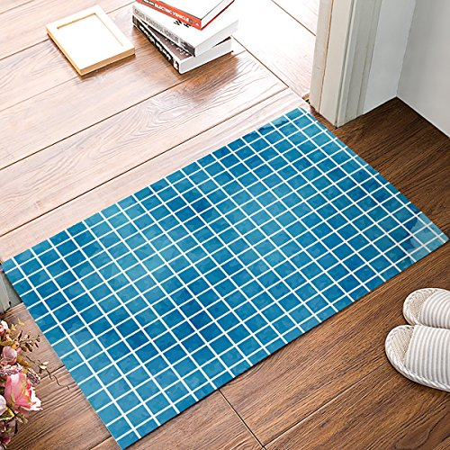 Brawvy Non Slip Soft Resilient Welcome Door Mat for Bathroom Kitchen Toilet Floor, Square Mosaic Blue Pattern Comfortable Entry Way Rug Absorbent Home Deco,16