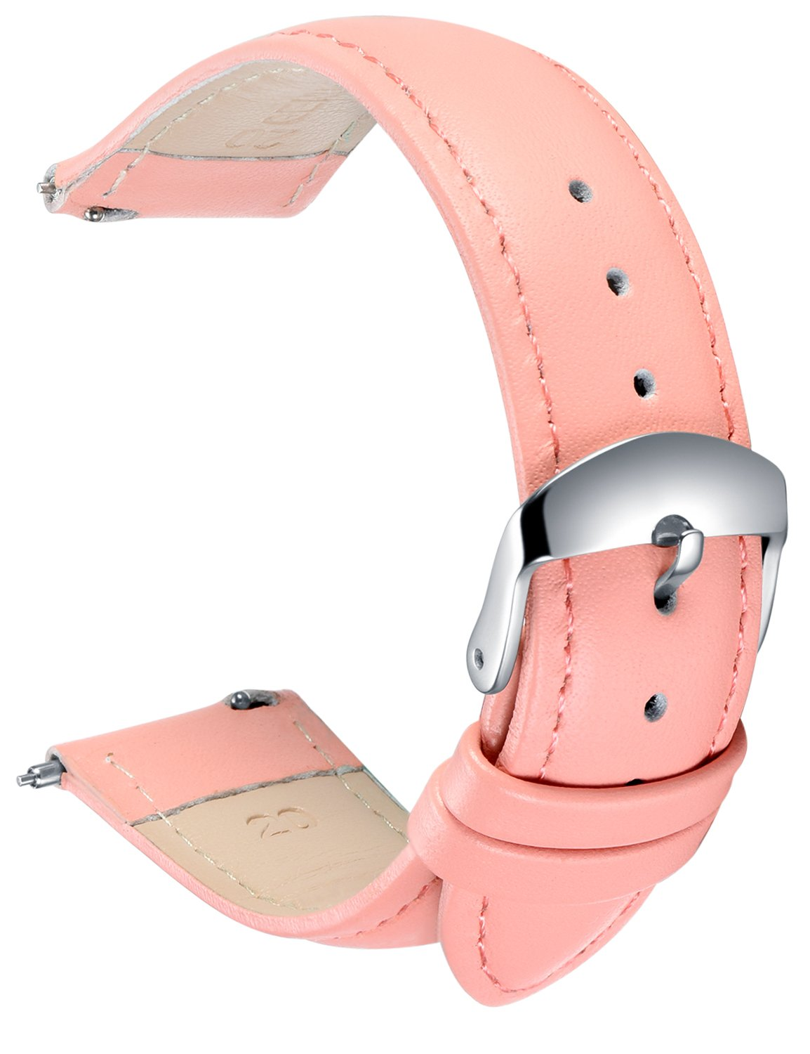 Quick Release Leather Watch Band, SONGDU Full Grain Genuine Leather Replacement Watch Strap with Stainless Metal Buckle Clasp 16mm, 18mm, 20mm, 22mm, 24mm (Pink, 18mm)